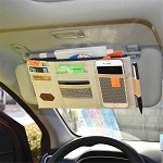 Complete Sun Visor Organizer w/ Zip Pouch and Pockets - 5 Colors Available