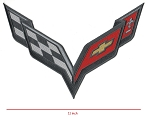 C7 Corvette Stingray/Z06/Grand Sport 2014+ Embroidered Carbon Flash Crossed Flags Patch - 11 Inch - Sold Individually