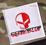 C7 Corvette 2014-2019 Embroidered Corvette Racing Jake Skull Patch - Red/White - 4 Inch
