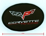 C6 Corvette 2005-2013 Embroidered Corvette Racing Oval Patch - Black - 4 Inch