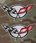 C5 Corvette 1997-2004 Embroidered Crossed Flags Patch - White - 4 Inch - Pair