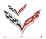 C7 Corvette 2014+ Embroidered Crossed Flags Patch Set - 5 In & 2 In - 2pc Set