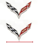 C7 Corvette Stingray/Z06/Grand Sport 2014+ Embroidered Crossed Flags Patch - 2 Inch - Pair