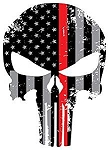 Back Our Heroes Tattered American Flag Punisher Skull Decal - Police, Firefighter / EMT & Military Options