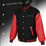 C2 C3 C4 C5 C6 C7 Corvette 1963-2014+ Red Leather & Wool Varsity Jacket w/ Corvette Script - Sizes Small-5XL
