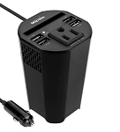 Cup Holder Power Inverter / Converter Adapter w/ 4 USB Charger Ports, 1 AC Outlet, and Storage Slot