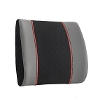 Two-Tone Faux Carbon Fiber/Leather Lumbar Pad w/ Accent Stitching