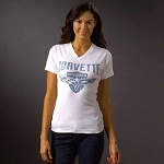 C6 Corvette 2005-2013 Women's Crossed Flags And Shield T-Shirt