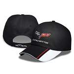 C6 Corvette 2005-2013 Crossed Flags Black Colorblock Cap