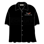 C6 Corvette 2005-2013 Camp Shirt Black, David Carey Design