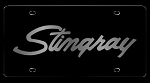 C3 Corvette 1968-1982 Black Carbon Stainless License Plate Cover - Stingray Script