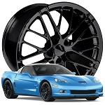 C6 Corvette 2005-2013 ZR1 Style Gloss Black Wheels Set - 18x9.5 / 19x12