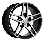 C6 Corvette 2005-2013 Z06 Style Black w/Machined Face Wheel Set 18x9.5/19x12