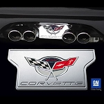 C5 Corvette Base / Z06 1997-2004 Exhaust Plate - Billet Chrome with 2004 Commemorative Edition Logo