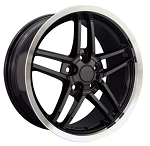 C6 Corvette 2005-2013 Z06 Style Wheels Set - Black With Polished Lip - 18x8.5/19x10