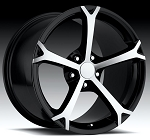 C4 C5 Corvette 1988-2004 Fitments 2010 Grand Sport Style Wheels Black w/ Machined Face Set 18x8.5/19x10