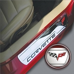 C6 Corvette 2005-2013 Billet Chrome Door Sill Guards - Crossed Flags Logo