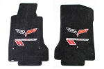 C6 Corvette 2005-2013 Lloyds Velourtex Front Floor Mats Grand Sport Logo & Cross Flags