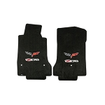 C6 Corvette Z06 2006-2013 Lloyds Velourtex Logo Front Floor Mats w/ Crossed Flags
