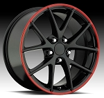 C6 Corvette Z06 2005-2013 Spyders Black w/ Red Stripe Wheels - 18x9.5/19x12