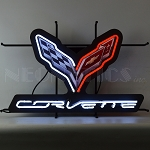 C7 Corvette Stingray 2014-2019 Crossed Flags Logo & Script Neon Sign