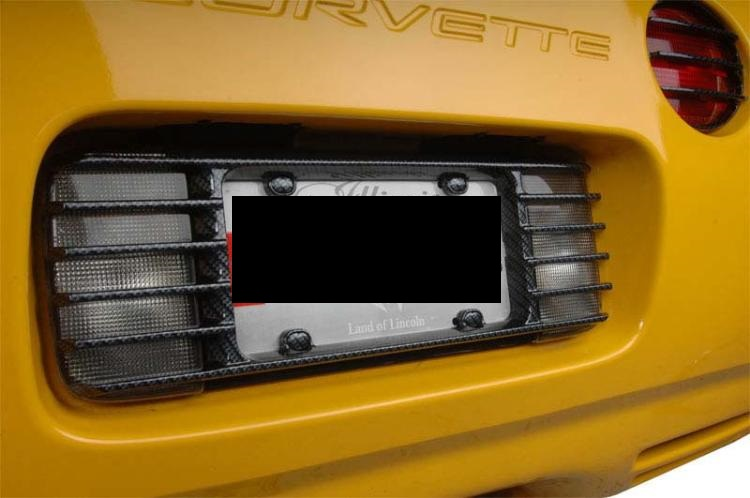 c5 corvette 1997 2004 carbon fiber style license plate frame louvered