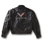 C7 Corvette 2014+ Mens Leather Bomber Jacket w/ Corvette Lettering