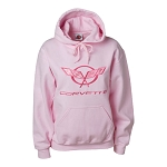 C5 C6 Corvette 1997-2013 Ladies Hooded Sweatshirt - Embroidered Crossed Flags