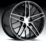 Corvette C6 05-13 ZR1 Style Wheels Black/Machined Face Set 18x8.5/19 x10