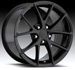 C6 Corvette 2005-2013 Gloss Black Spyder Style Wheels Set 18x9.5 / 19x10