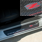 C6 Corvette 2006-2013 Door Sill Guards Carbon Fiber - Z06 Logo