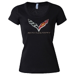 C7 Corvette Stingray 2014-2019 Ladies Crossed Flags Rhinestone Shirt - V-Neck/Crew Neck