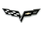 C6 Corvette 2012 Centennial Edition Crossed Flags Emblem Badges - Front and Rear
