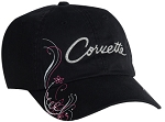 C3 C4 C5 C6 C7 Corvette 1968-2014+ Ladies Corvette Shimmer Cap - Black