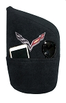 C5 C6 C7 Corvette 1997-2014+ Seat Armour Console Covers - Black With Embroidered Crossed Flags