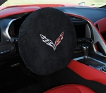 C5 C6 C7 Corvette 1997-2019 Steering Wheel Protector w/ Cross Flag Emblem