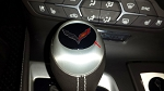 C7 Corvette Stingray 2014+ Automatic Shift Knob Crossed Flags Logo Decal - 3D Gel