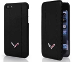 C7 Corvette Stingray/Z06/Grand Sport 2014-2019 Black Leather Phone Case w/ Crossed Flags - iPhone 6