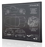 C6 Corvette 2006-2013 Z06 Engraved Blueprint Art - Material Selection Options