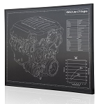 C7 Corvette 2014+ LT1 Engine Engraved Blueprint Art - Material Selection Options