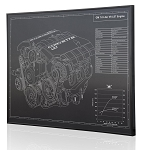C6 Corvette 2006-2013 LS7 Engine Engraved Blueprint Art - Material Selection Options