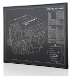 C6 Corvette 2008-2013 LS3 Engine Engraved Blueprint Art - Material Selection Options