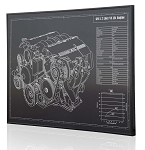 C5 Corvette 1997-2004 LS1 Engine Engraved Blueprint Art - Material Selection Options