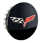 C6 Corvette 2011-2013 GM Gloss Black Center Caps With Crossed Flags - Set of 4