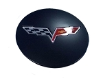 C6 Corvette 2005-2013 GM Center Caps Satin Black With Crossed Flags