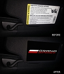 C7 Corvette Grand Sport 2017+ Visor Airbag Warning Overlays w/ Grand Sport Logo - Pair