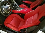C7 Corvette Stingray/Z06/Grand Sport 2014-2018 Seat Armour Console Covers - Red w/ Embroidered Crossed Flags