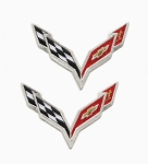 C7 Corvette 2014-2019 Front Hood Nose Emblem Patch Set - 2pcs
