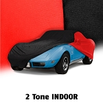 C3 C4 Corvette 1968-1996 Two-Toned Soft Stretch Indoor Car Covers - Gray & Black/Red & Black