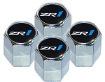 C6 Corvette 2010-2013 Valve Stem Caps w/ Black Background & ZR1 Logo